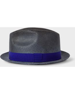 Men's Slate Blue Woven Trilby Hat