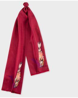 Men's Burgundy 'rabbit' Print Silk Scarf