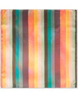 Men's Large 'artist Stripe' Silk Pocket Square