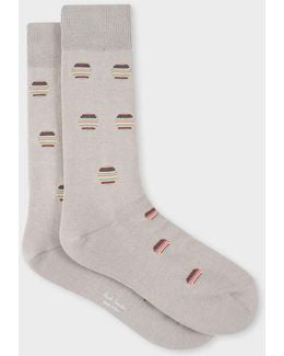 Men's Grey Polka Dot Stripe Socks
