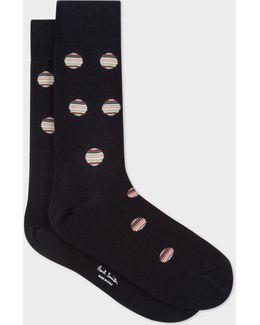 Men's Navy Polka Dot Stripe Socks
