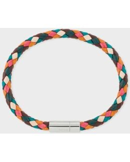 Men's Multi-coloured Leather Plaited Bracelet