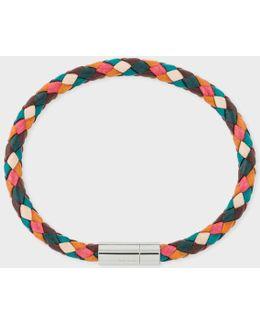 Men's Multi-coloured Leather Plaited Bracelet