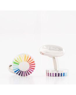 Men's Gradient Stripe Edge Circular Cufflinks