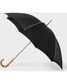 Black Signature Stripe Trim Walker Umbrella With Wooden Handle