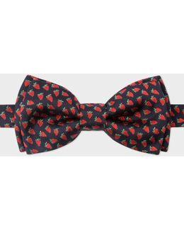 Men's Red Strawberry Pattern Silk Bow Tie