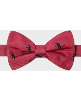 Men's Red 'kaiju' Pattern Silk Bow Tie