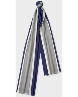 Men's Navy Central Stripe Linen-blend Scarf