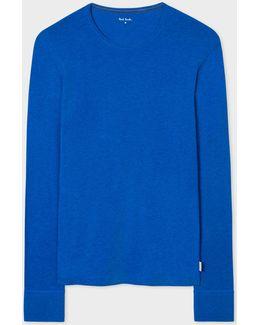 Men's Blue Long-sleeve Crew Neck Vest