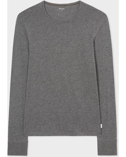 Men's Grey Marl Long-sleeve Crew Neck Vest