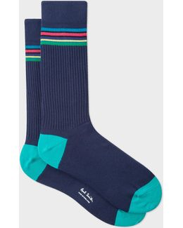Men's 'cycle Stripe' Trim Navy Ribbed Socks
