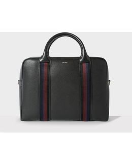 Stripe-trimmed Grained-leather Briefcase