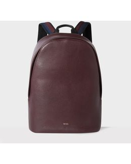 Men's Burgundy Leather 'city Webbing' Backpack