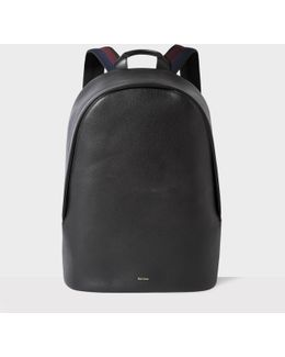 Men's Black Leather 'city Webbing' Backpack