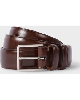 Men's Chocolate Brown Leather Double Keeper Classic Suit Belt