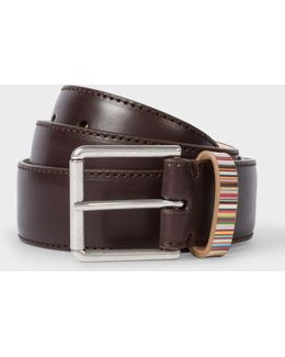 Men's Brown Leather Belt With Signature Stripe Keeper
