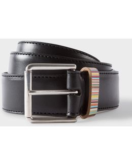 Men's Black Leather Belt With Signature Stripe Keeper