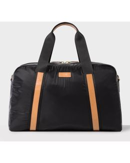 Men's Black Holdall With Tan Leather Trims
