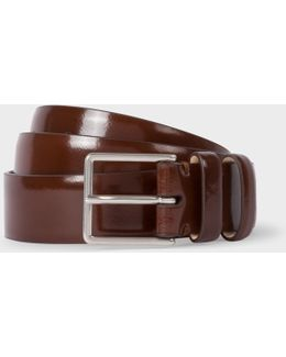 Men's Chocolate Brown High-shine Leather Double Keeper Belt