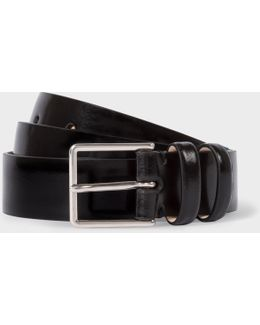 Men's Black High-shine Leather Double Keeper Belt