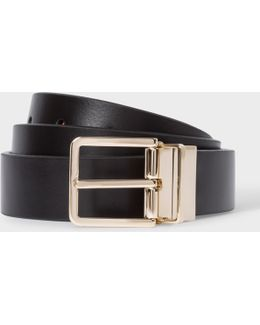 Men's Black And Signature Stripe Leather Cut-to-fit Reversible Belt