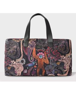 Men's Canvas And Leather 'monkey' Print Holdall
