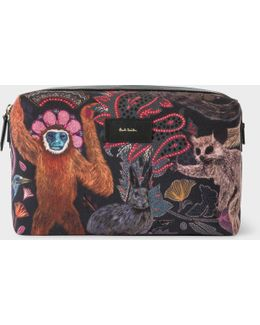 Men's Canvas 'monkey' Print Wash Bag