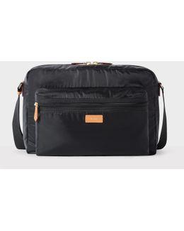 Men's Black Lightweight Messenger Bag With Tan Leather Trims