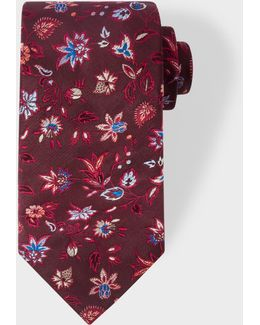 Men's Burgundy Floral Pattern Silk Tie