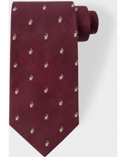 Men's Burgundy Embroidered Rabbit Motif Silk Tie
