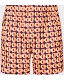 Men's Navy 'peaches' Print Cotton Boxer Shorts
