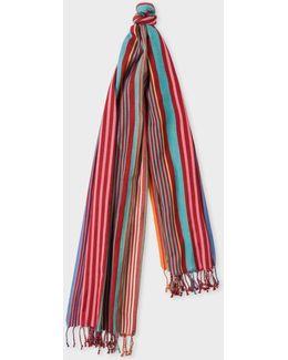 Men's Burgundy Multi-coloured Stripe Silk-blend Scarf