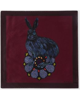 Men's Burgundy 'rabbit' Print Silk Pocket Square