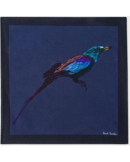 Men's Navy 'bird' Print Silk Pocket Square
