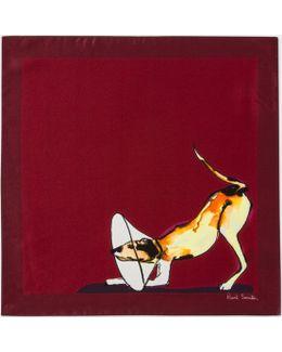 Men's Burgundy 'dog' Print Silk Pocket Square