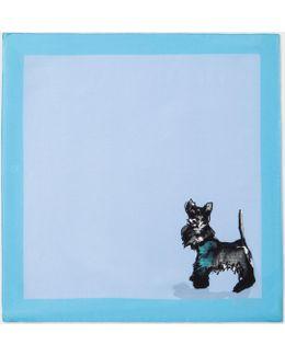 Men's Light Blue 'dog' Print Silk Pocket Square