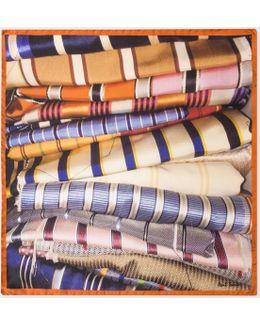 Men's Orange 'tie' Print Silk Pocket Square