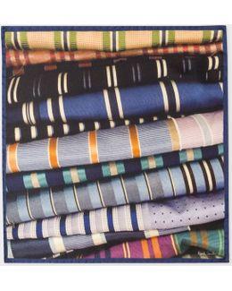 Men's Blue 'tie' Print Silk Pocket Square