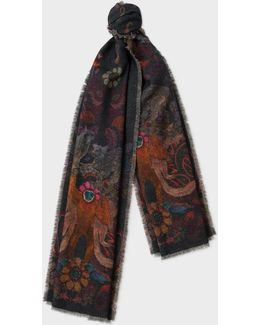 Men's 'monkey' And 'leopard' Double-sided Wool-cashmere Scarf