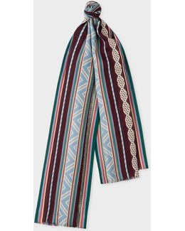Men's Green And Burgundy 'indian Summer' Pattern Cotton-silk Scarf