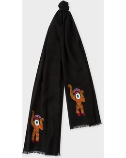Men's Black Embroidered 'monkey' Wool Scarf