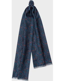 Men's Double-sided 'vine Floral' Wool-silk Scarf