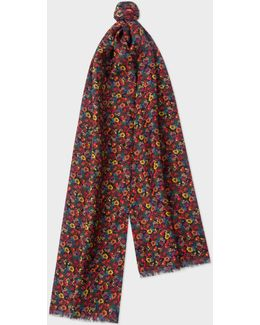 Men's Double-sided 'polka-floral' Wool-silk Scarf