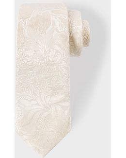 Men's Cream Tonal Floral Embroidery Narrow Silk Tie