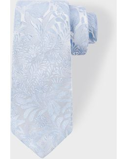 Men's Light Blue Tonal Floral Embroidery Narrow Silk Tie