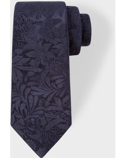 Men's Navy Tonal Floral Embroidery Narrow Silk Tie