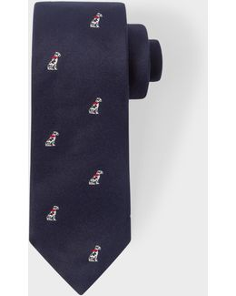 Men's Navy Dalmatian Pattern Narrow Silk Tie