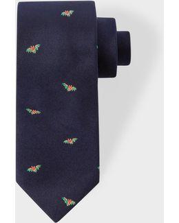 Men's Navy 'bat' Pattern Narrow Silk Tie