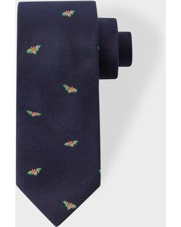 Men's Navy 'bat' Pattern Narrow Silk Tie