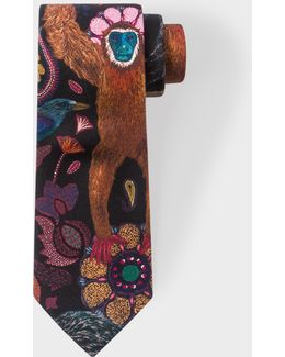 Men's Black 'monkey' Print Narrow Silk Tie